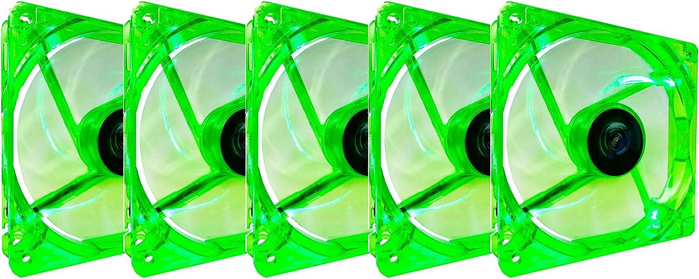 Apevia CF512L-GN 120mm 4pin+3pin Silent Green LED Case Fan (5-pk)