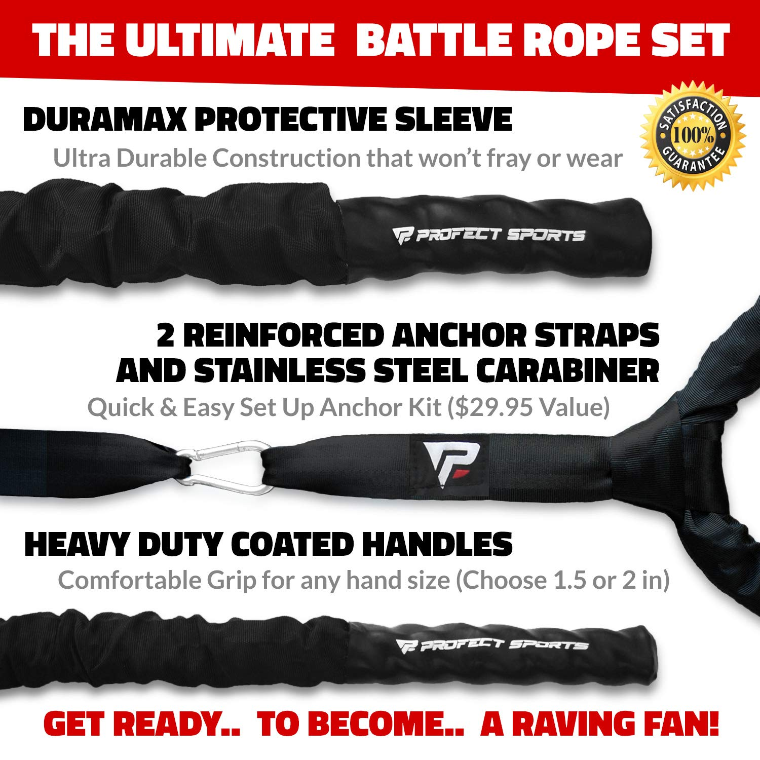 Pro Battle Ropes with Anchor Strap Kit - Upgraded Durable Protective Sleeve - 100% Poly Dacron Heavy Battle Rope for Strength Training, Cardio Workout, Crossfit, Fitness Exercise Rope (1.5'' x 30 ft) by Profect Sports (Image #2)