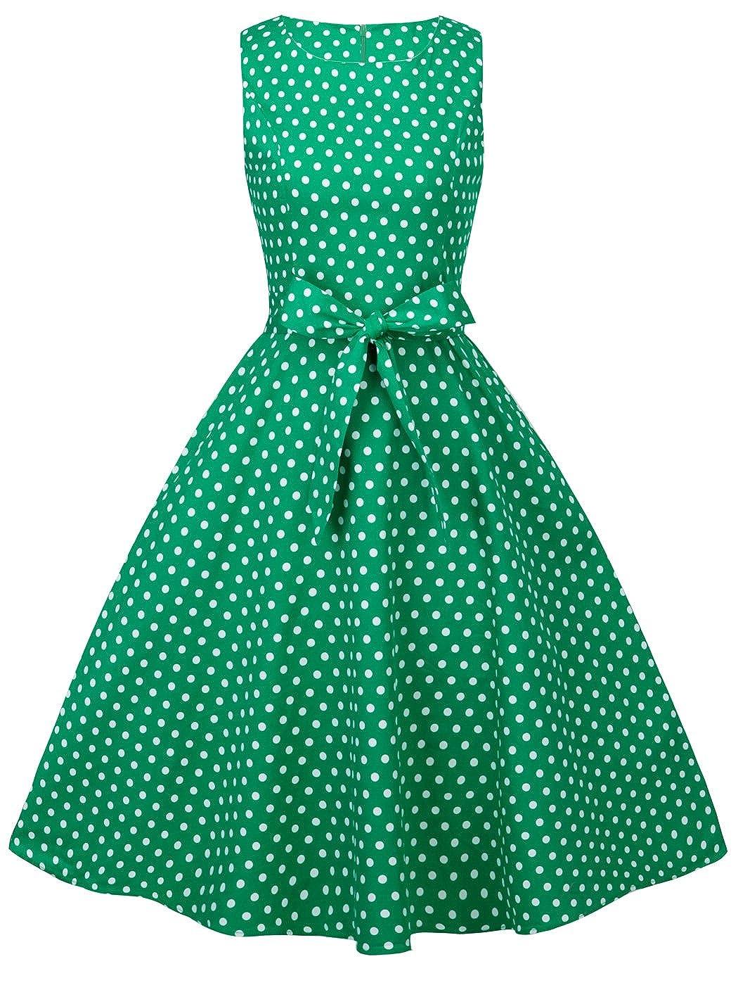 TALLA XL. FAIRY COUPLE 50s Vestido de Partido Floral Retro del Oscilación del Cóctel del Vintage con el Arco DRT017 Verde Pequeña Blanco Puntos XL