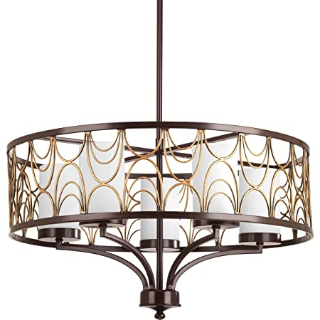 Progress Lighting P4700-20 5-100W Medium Base Chandelier, 80.5 x 24 x 14.25 , Antique Bronze