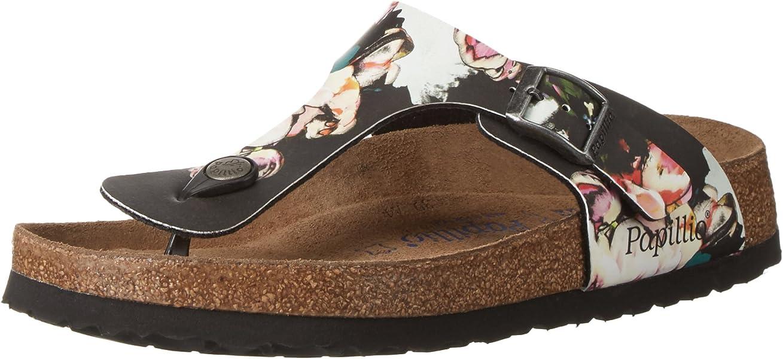 e1cb6fe54c 1000466 - Birkenstock - Gizeh Painted Bloom Black Soft Footbed Birko-Flor -  Regular - All Sizes Brand New