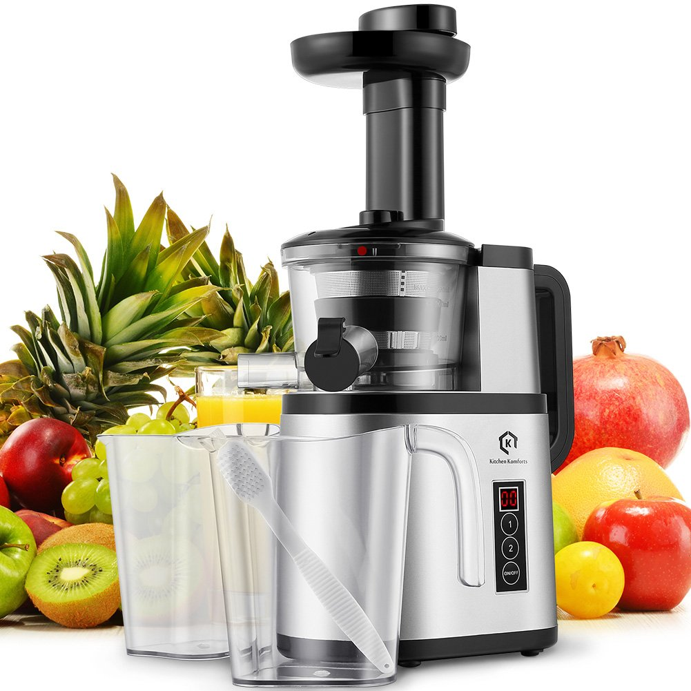 Cold Press Juicer, Kitchen Komforts Slow Masticating Juicer Extractor, Quiet Motor and Food-Grade Materials with Juice Jug and Brush, High Nutrient Fruit and Vegetable Juice