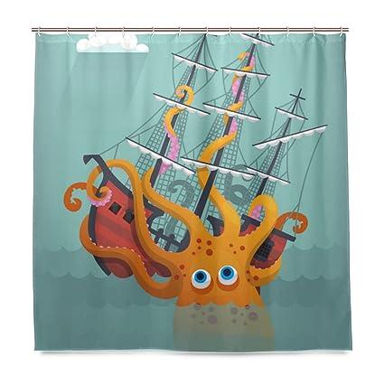 Amazon ALAZA Giant Cartoon Squid Shower Curtain Waterproof