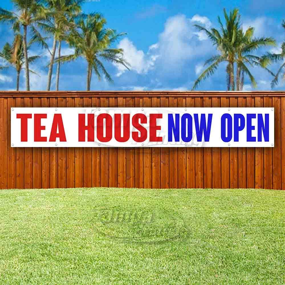 Advertising New Store Tea House Now Open Extra Large 13 oz Heavy Duty Vinyl Banner Sign with Metal Grommets Many Sizes Available Flag,