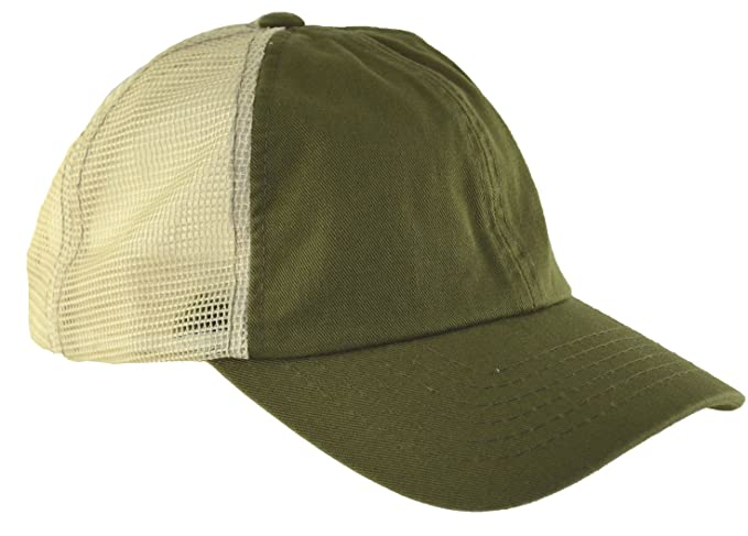 Low Profile Mesh Caps Baseball Cap Washed Trucker Hat Olive Green at ... 536c0dd6471
