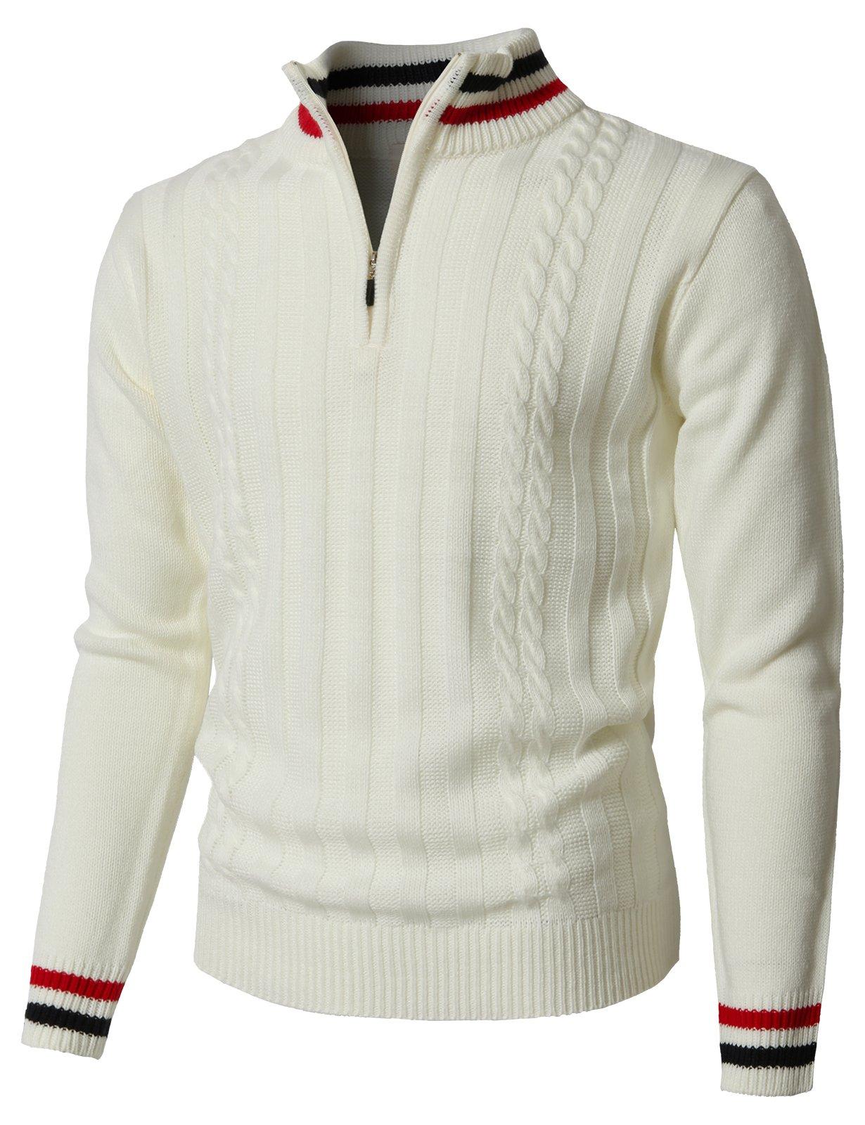 H2H Mens Half Zip Cashmere Blend Mens Sweater White US M/Asia L (KMOSWL0196)