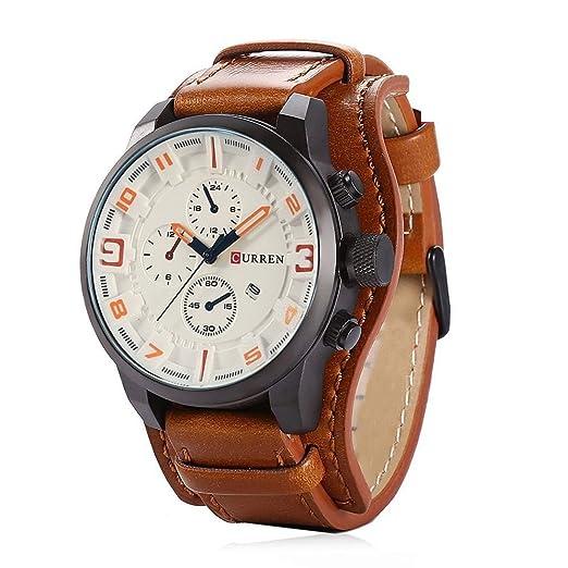 Curren Reloj de Pulsera de Cuero, Cuarzo analógico, diseño clásico de Lujo Classic Business