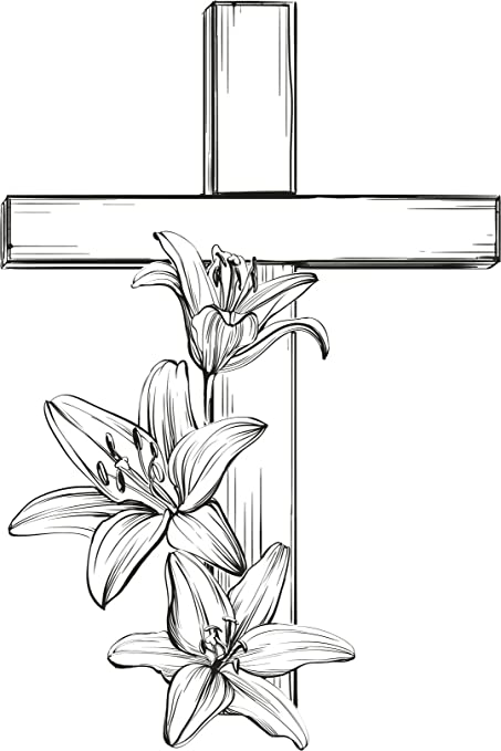 Amazon com: Funeral RIP Cross with Lily Flowers Cartoon Pen