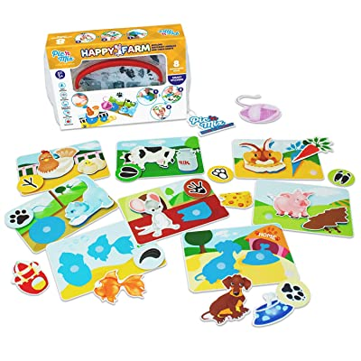 Pic N Mix Toddler Board Games - Happy Farm Preschool Educational Learning Matching Game, Montessori Activity for Age 3 and up, 32 Playing Elements and Cards, Creativity, Animal Recognition, Waterproof: Toys & Games