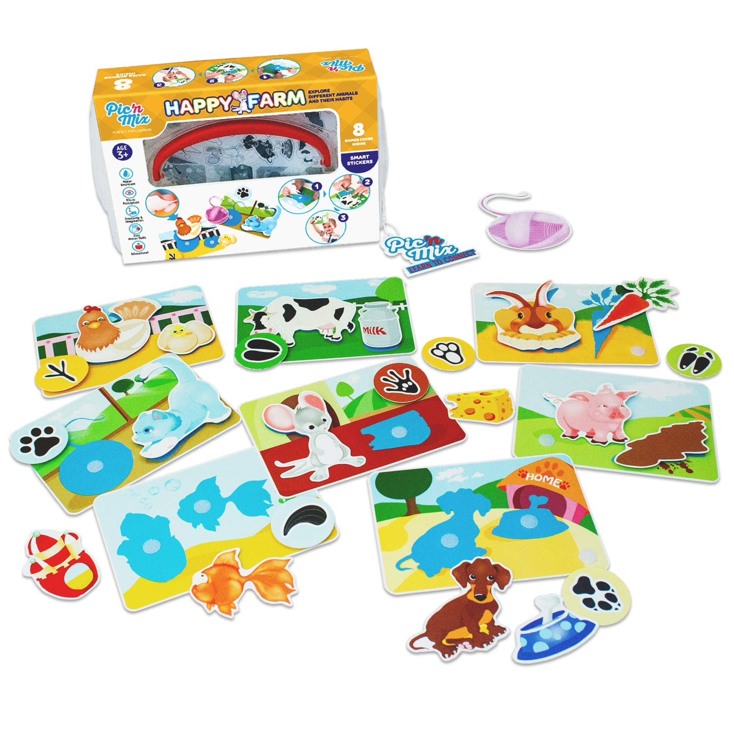 Happy Farm Game for Toddlers and Preschool Kids | Learning Sorting and Counting - Therapy Fine Motor Skills Activity. For 3 years old. Eco-Friendly made of durable plastic | Educational Puzzle Toy. by Picnmix