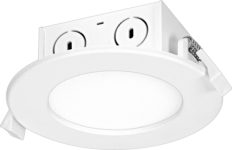 Satco S39056 8.5 watt LED Direct Wire Downlight; Edge-lit; 4 inch; 3000K; 120 Volt; 12 Bulbs California Compliant