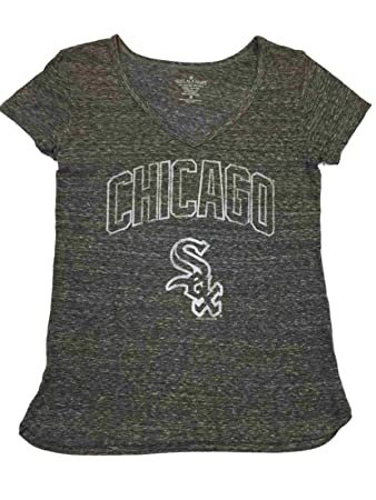 release date c5629 7329b Chicago White Sox SAAG Women Gray Vintage Logo Short Sleeve V-Neck T-Shirt