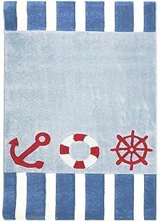 kinderteppich maritim anker 4 blau 120x180cm: amazon.de: küche ... - Teppich Kinderzimmer Maritim