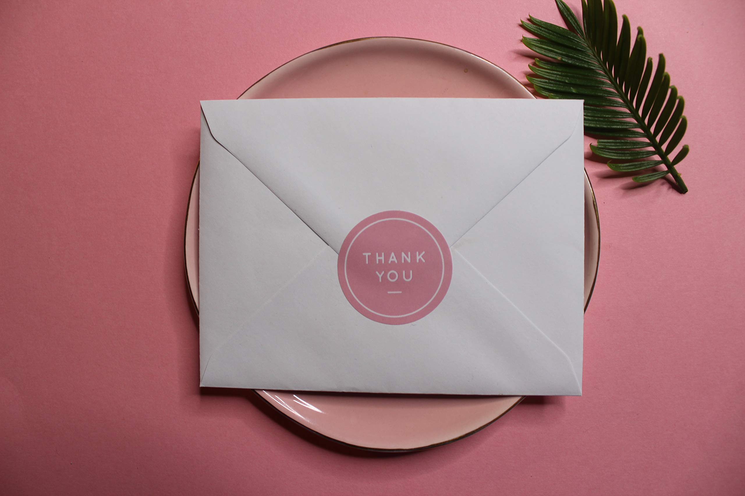PAPERLILY Thank You Stickers - 1.5'' | 500 Pink Labels Per Roll by Paperlily