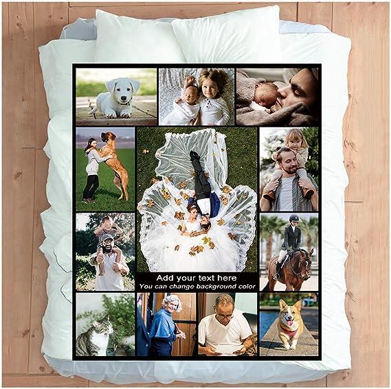 Haisimiery - Manta personalizable con imagen para adultos y mascotas, franela, diseño de foto de cumpleaños, boda, Forro polar de franela., Tu foto personalizada, Queen 60''×85'' (150x220cm)