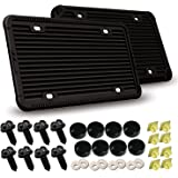 Silicone License Plate Frames -2Pcs 4 Holes Black License Plate Covers Front/Rear Tag Holder Rust-Proof Rattle-Proof Weather-