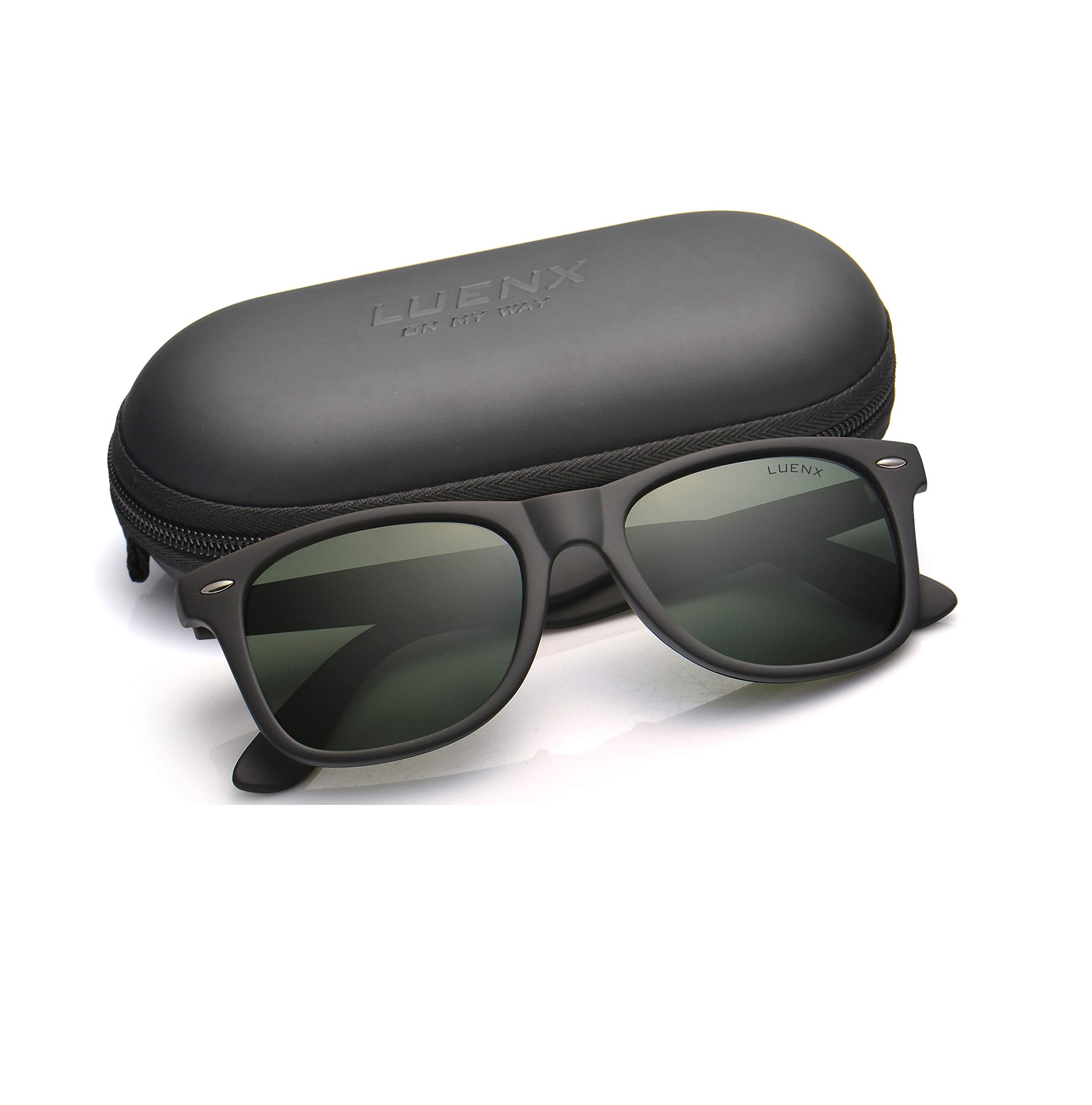 Mens Polarized Sunglasses for Womens UV 400 Protection Grey Green Lens Matte Black Frame 54MM by LUENX