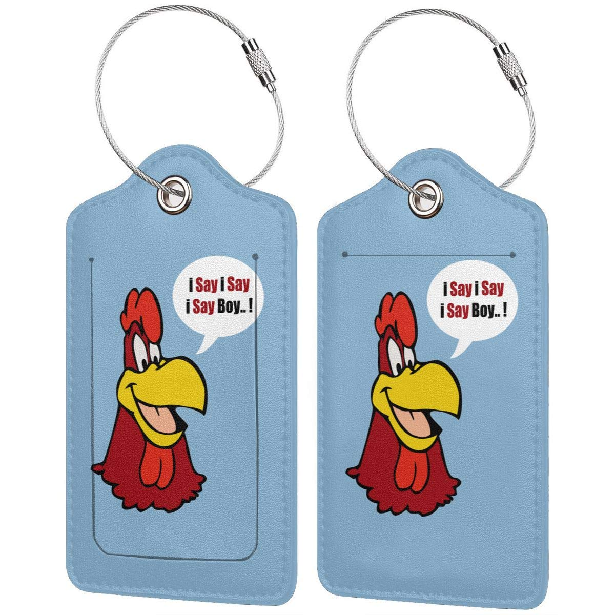 Foghorn Leghorn Leather Luggage Tag Travel ID Label For Baggage Suitcase