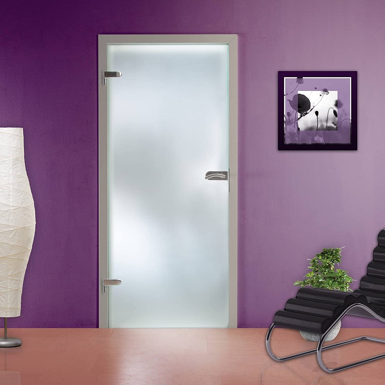 Komplettset Glastür Design Ganzglastür Blickdicht mit Beschlagset und Bänder