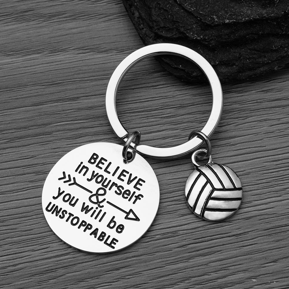 Perfect Volleyball Gifts for Volleyball Players Sportybella Volleyball Keychain Girls Believe in Yourself /& You Will Be Unstoppable Volleyball Jewelry