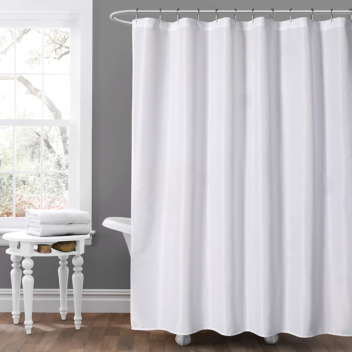 """MYSKY HOME White Fabric Shower Curtain,Machine Washable Fabric Shower Curtain with Hotel Quality for Bath Tub,Portable White Curtain Liner for Outdoor Use Available,72""""x72"""""""