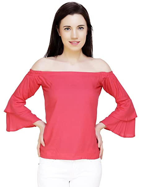8468039c6445c1 Yashreet Women s Hot Pink Off-Shoulder Top  Amazon.in  Clothing    Accessories
