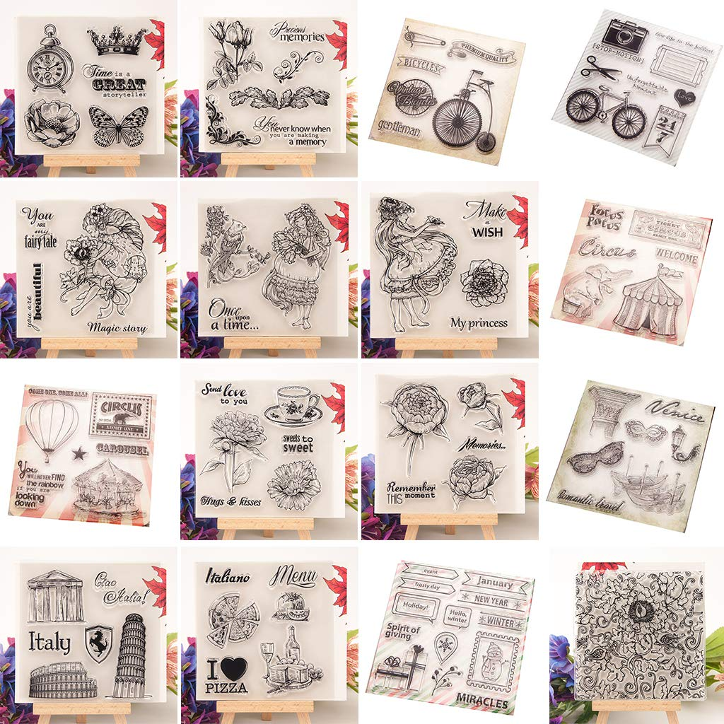sayletre Clear Silicone Stamp Sheet Printing Scrapbooking Embossing Stamper Transparent Cling Seal for DIY Scrapbook Photo Albums Paper Notebook Card Making Arts Crafts Supplies Memories /& Flowers