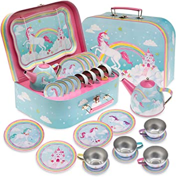 Jewelkeeper Joyero - Juego de té de Juguete para niños & Estuche - Diseño Unicornio arcoíris: Amazon.es: Juguetes y juegos