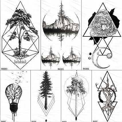 KAMRL Tatuaje Falso Tatuaje Tgeometric Round Flora Emporary ...