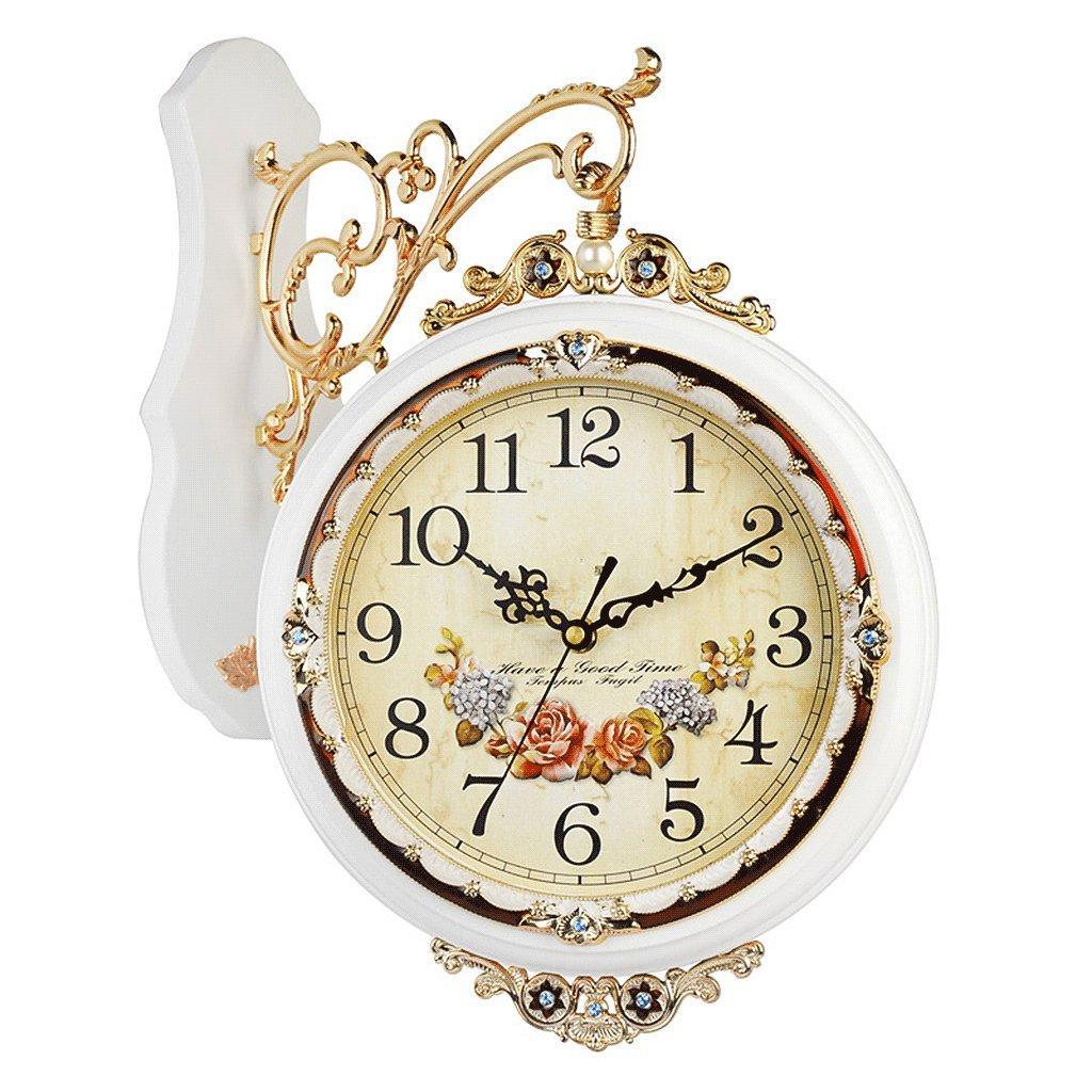 掛け時計 ヨーロッパスタイルの両面ウォールクロックリビングルーム木製クリエイティブシンプルな時計パーソナリティ大きなサイレント直径50.5cm Rollsnownow (色 : 白) B07DYPJQC4 白 白