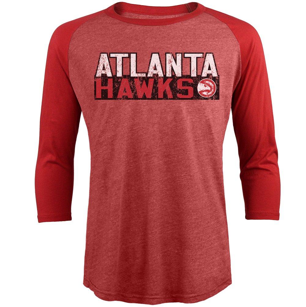 NBA Atlanta Hawksメンズプレミアムトライブレンド3 / 4スリーブラグラン、赤、L   B06ZYB2BPP