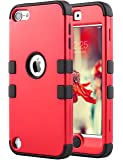 iPod Touch 6 Case,iPod 6 Cases,6th Case, ULAK Anti Slip Anti-Scratch iPod Touch Case Shockproof Protective Cover with Hybrid High Soft Silicone + Hard PC Case Halloween Color (Red/Black)