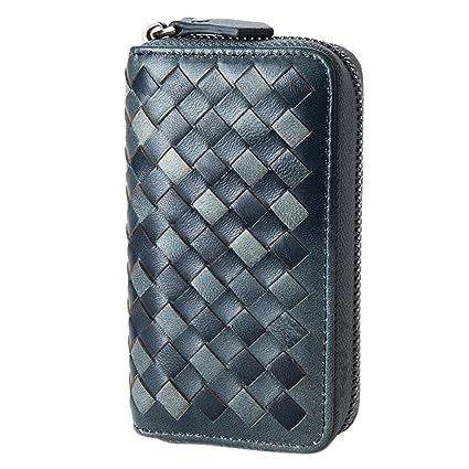 Esdrem artesanal de piel de cordero Key Case Holder Card Monedero con llavero de coche Llavero