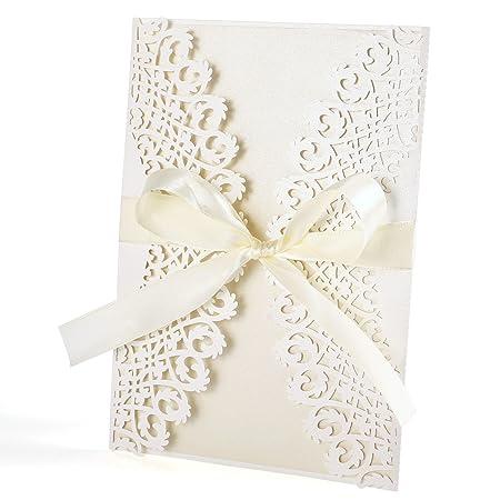 Paquete 10pcs Tarjetas Invitación Ajouré Sobres Cinta Boda Tarjeta De Saludo Fiesta Bautizo Cumpleaños Compromiso