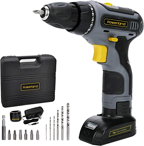 Toolman 18V Cordless Drill Driver 2 Viable Speed Powerful Screwdriver Li-ion Battery Accessories ZTP001-1