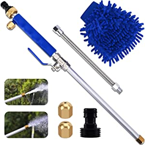 Inchoco Jet High Pressure Watering Gun Adjustable Power Wash Wand with Universal Hose End, The Cleaning Tools for Cars Gardens Windows Pets