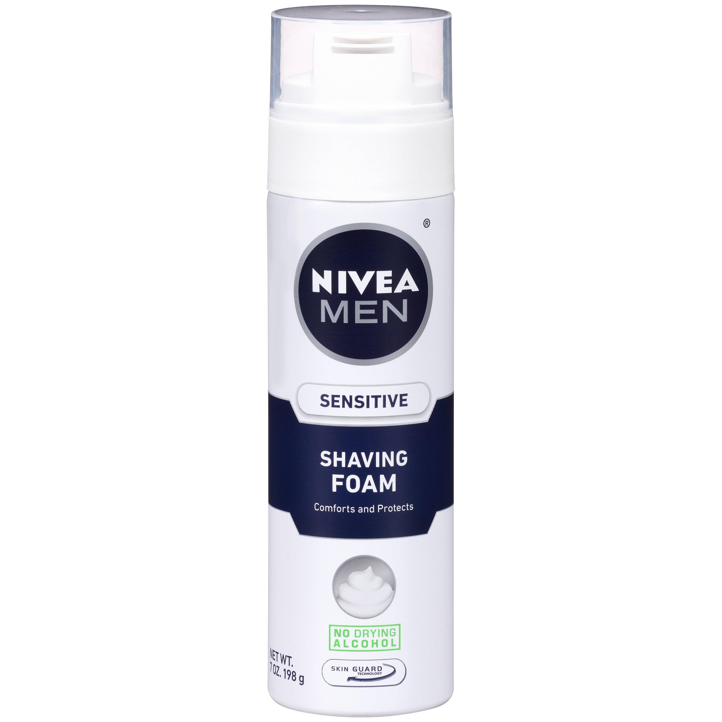 NIVEA Men Sensitive Shaving Foam 7 Ounce (Pack of 6)