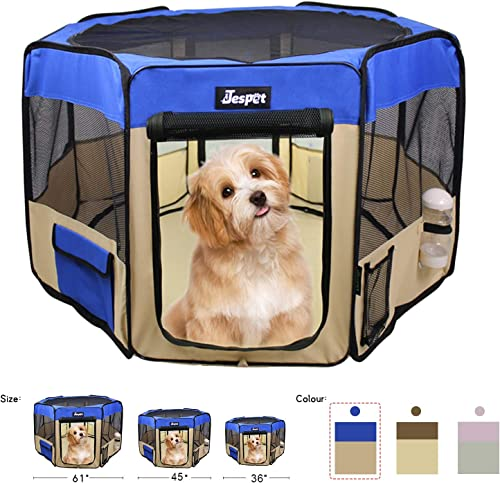 JESPET Pet Dog Playpens 36 , 45 61 Portable Soft Dog Exercise Pen Kennel with Carry Bag for Puppy Cats Kittens Rabbits, Indoor Outdoor Use