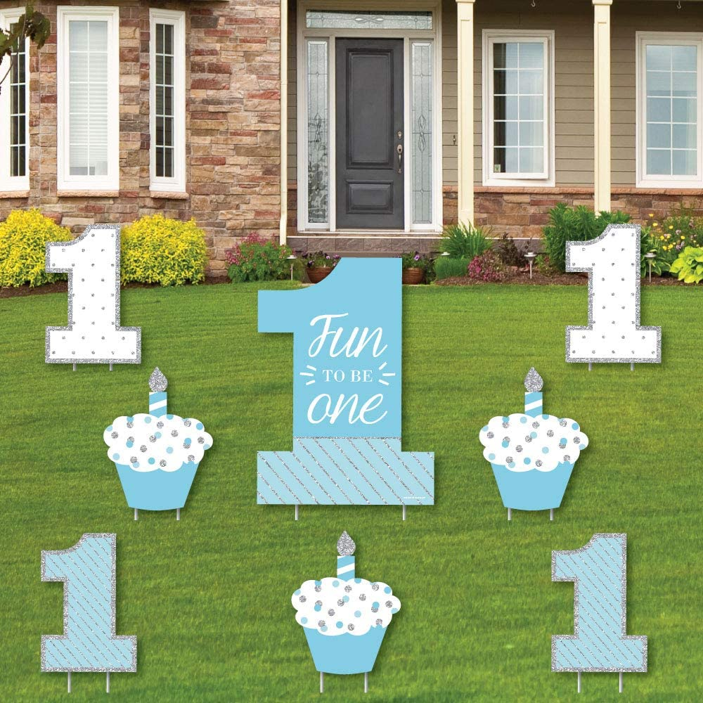 Amazon Com 1st Birthday Boy Fun To Be One Yard Sign Outdoor Lawn Decorations First Happy Birthday Party Yard Signs Set Of 8 Garden Outdoor