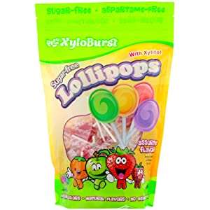 Xyloburst Sugar-Free Lollipops with Xylitol, Assorted Flavors, 50 Lollipops (18.6 oz)