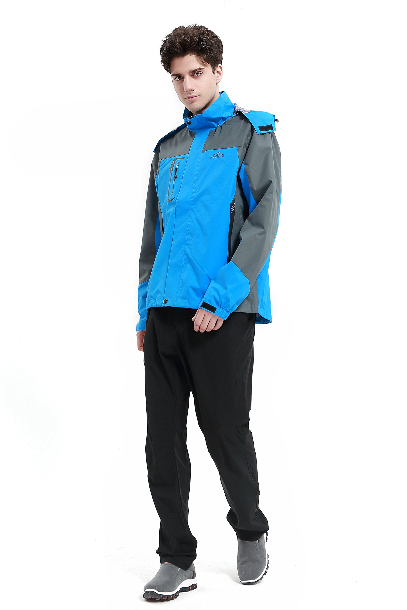 Diamond Candy men Sportswear Hooded Softshell Outdoor Raincoat Waterproof Jacket 02BL