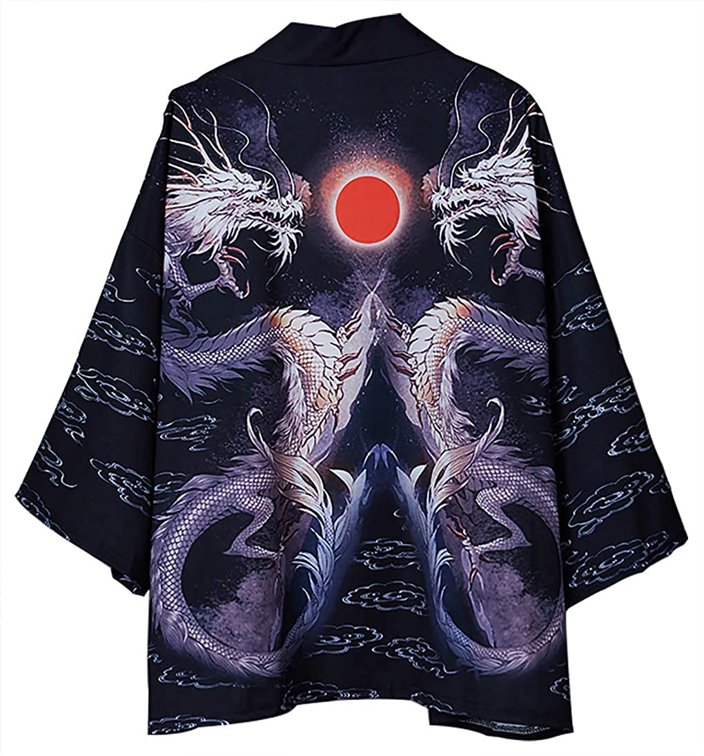 Womens Summer Loose fit Dragon or Crane Japanese Kimono Cover up OneSize US S-XL