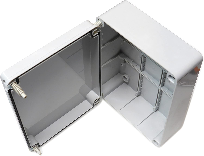 Caja de conexiones con tapa abisagrada (240 x 190 x 90 mm), de plástico PVC resistente al agua (grado de protección IP56), adaptable para la conexión de cables eléctricos para iluminación de