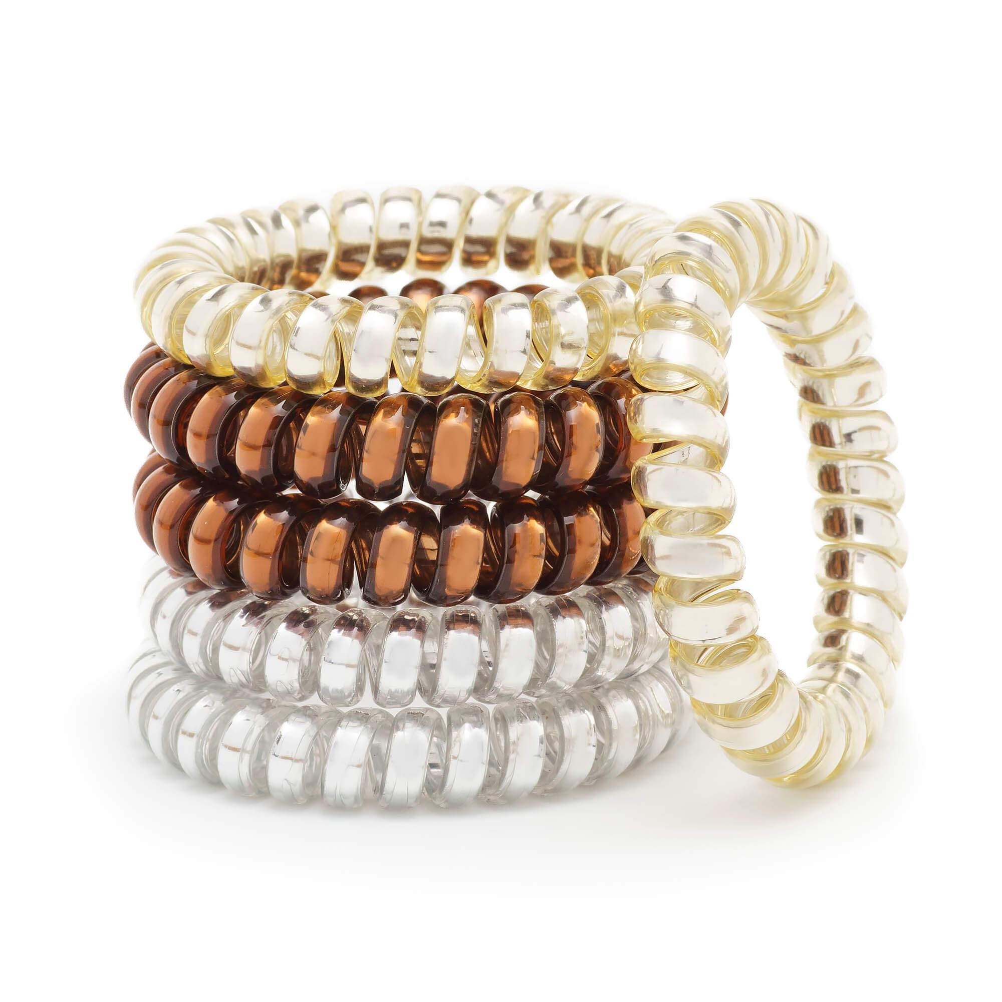 MiSpace Plastic Hair Ties Spiral for Thick Hair, No Crease, Set of 6 Elastic Hair Ties (Metallic)