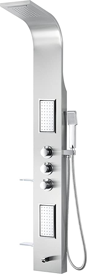 Anzzi Field 58 Full Body Massage 2 Jetted Shower Panel System Waterfall Shower Head Multi Function Shower Tower Brushed Steel Shower Panels With Jet And Rainfall And Handheld Sp Az042 Amazon Com