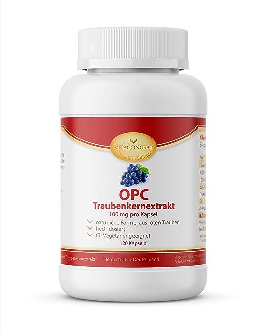 VITACONCEPT OPC - 100 cápsulas de extracto de pepitas de uva - 100 mg por unidad