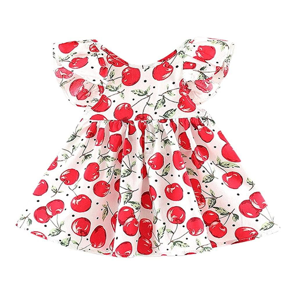 Dinglong 0-24 Months Toddler Kids Baby Girls Cherry Dresses Clothes Party Princess Dresses