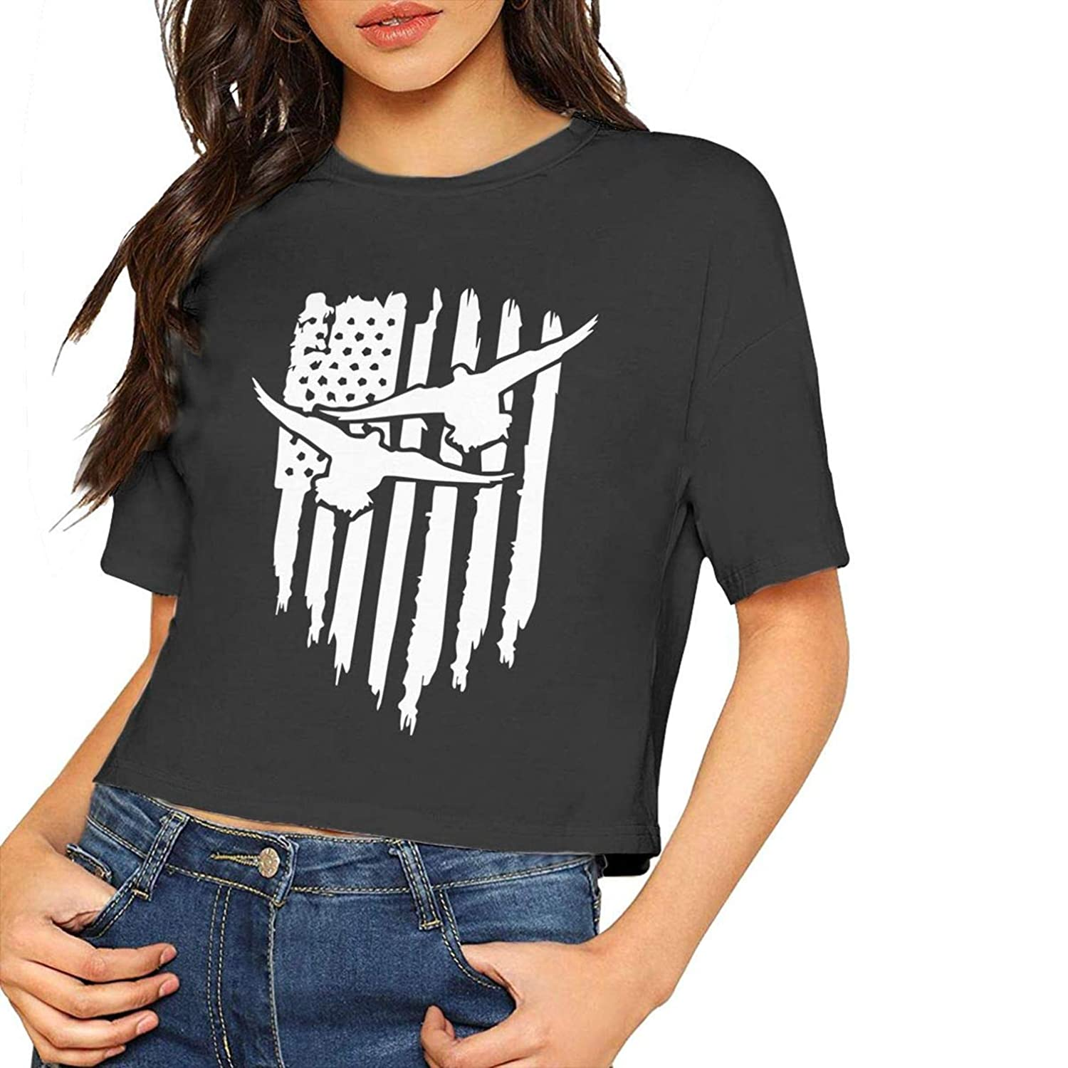 Fashion Womens Round Neck Crop Top American Duck Hunter Graphic Top Tee