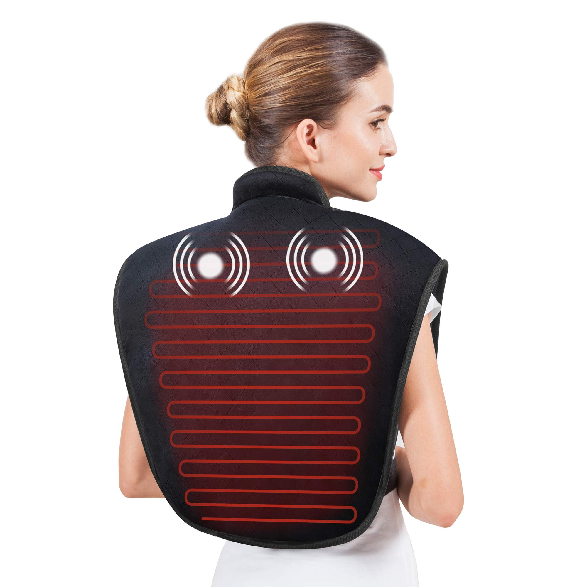 Heating Pad for Neck and Shoulders - Heat Wrap with Adjustable Heated Levels & Vibration Massage for Neck and Shoulder Back Pain Relief, Heating Pad with Auto Shut Off AL661 by Snailax