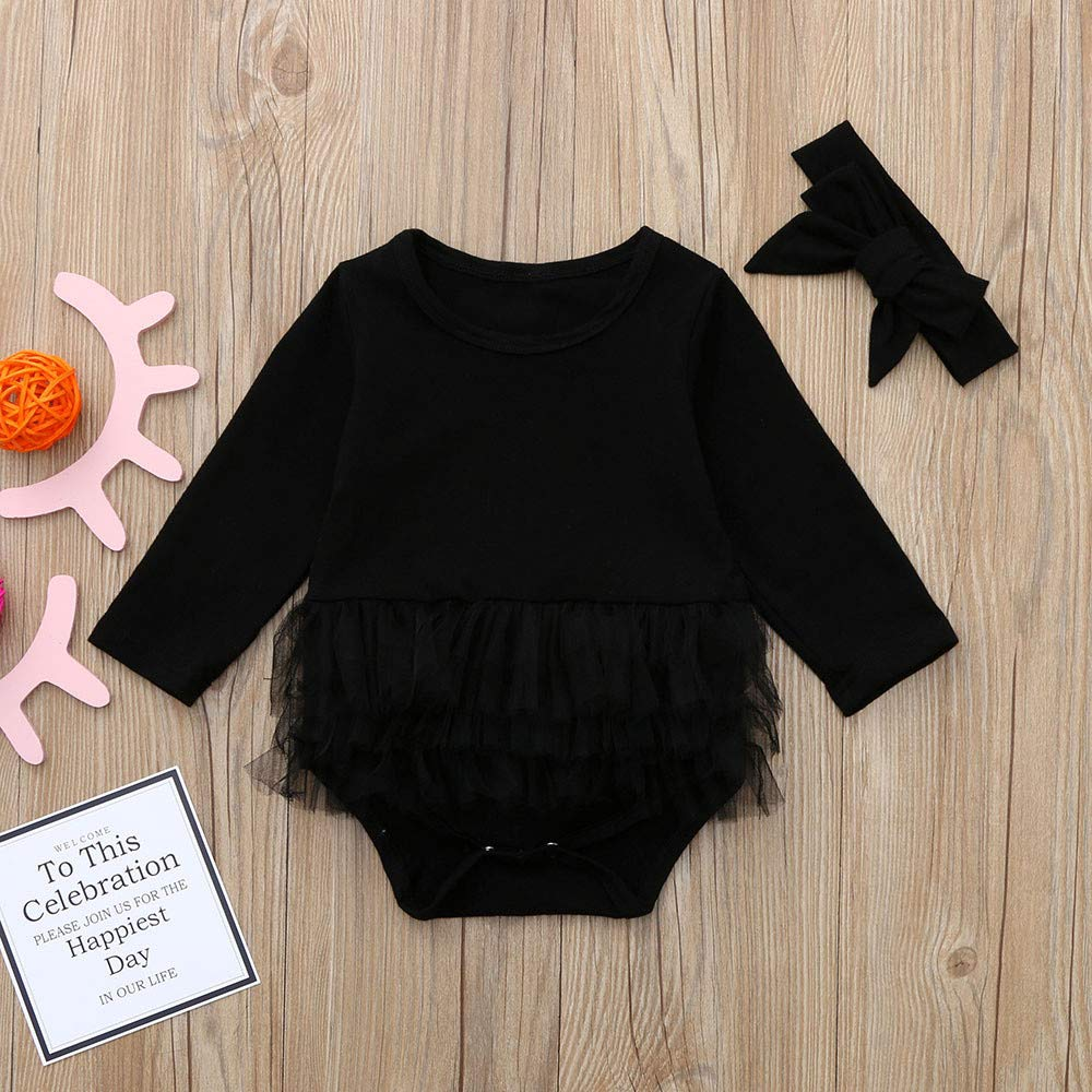NUWFOR Infant Newborn Baby Girl Tulle Tutu Romper Bodysuit Clothes Headband Outfits Set(Black,18-24 Months by NUWFOR (Image #3)